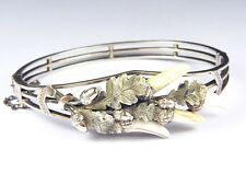 UNUSUAL ANTIQUE VICTORIAN ENGLISH SILVER & GOLD HUNTING TOOTH BANGLE BRACELET