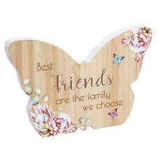 Butterfly Plaque / Sign Gift - Vintage Floral design - Wooden - Friends