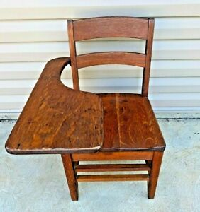 BEAUTIFUL Vintage Student Solid Wood School Desk & Attached Chair Antique NICE