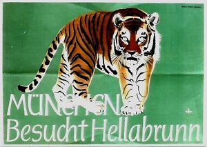 Original vintage poster TIGER ZOO MUNICH HELLABRUNN c.1958