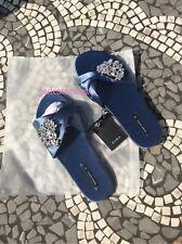 Zara Azul Marino Satén diapositivas deslizadores Gem Hebilla Nuevo 4 37 Pisos Sandalias Bnwt