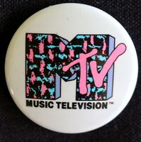 PINK & BLUE  MTV - MUSIC TELEVISION 1980'S  ORIGINAL PINBACK (NOT REPRO) BUTTON