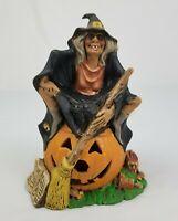 Vintage Witch Pumpkin Black Cat Ceramic Halloween Light Decoration