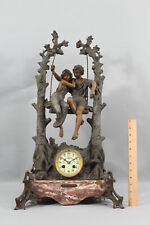 Antique French GEO MAXIME Lovers on Swing Sculpture & Marble Clock,