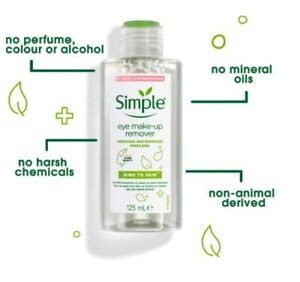 Simple Kind to Skin Eye Make-up Remover Removes Waterproof Mascara 125ml