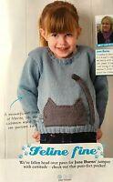 KNITTING PATTERN Childrens Cat Kitten Jumper Cat Pocket Sweater Girls Sublime DK