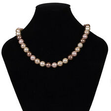 Misaki Cream Bronze & Rose Pink Pearl String Necklace & Stud Earrings Gift Set