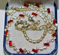 """Vintage White Red Baguette Rhinestone Silver Tone 16"""" Necklace 11L 43"""