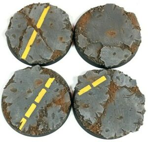 Industrial Road- Round Resin Bases 50 mm - 4 Painted/Unpainted Bases Warhammer