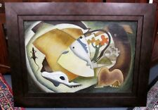 After Picasso Painting Signed J.C. Georgi Artist Animal Themed Oil On Canvas