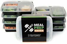 Meal Prep Haven Three Compartment Food Containers with Lids - 7 Pack