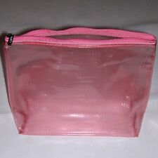"Clinique Clear-Pink Makeup Bag. Signature Zipper Closure. 9-1/4"" x 12"" x 4"" NEW!"