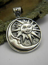 moon and sun sterling silver pendant 925 silver sun moon stars