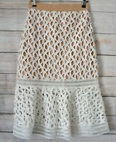 Dotti Skirt Pencil Straight Size 8 White Brown Broderie Anglaise Lace