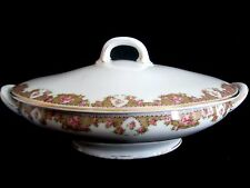 CT Altwasser Silesia Pink Floral Rose Oval Covered Vegetable Bowl Gold Trim