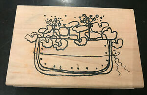 """Imaginations Rubber Stamp Basket Container of Plants 4.5"""" x 3"""""""