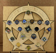 * Custom * US Army Star 19-Challenge Coin display / holder - wall mount