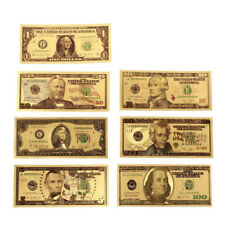 7Pcs/Set Plastic Gold Foil US Dollars Banknote Money Fake Currency Collection
