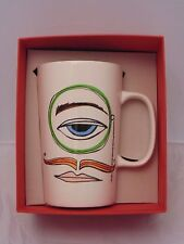 NEW 2014 Starbucks Dot Collection Monocle Man Mustache Face Ceramic 16oz Mug Cup