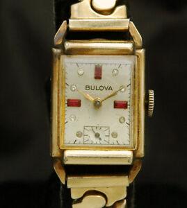 BULOVA MENS GOLD WATCH 7AP 17J VTG RARE Ruby Rhinestone Dial 40s-50s RUNS LOT B