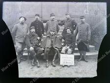 Grande Plaque de Verre 13x18 PHOTO ANCIENNE Militaria Groupe Militaire WWI 14-18
