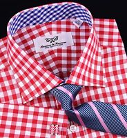 Hot Red Gingham Check Formal Business Dress Shirt Blue Plaids Luxury Cool Boss