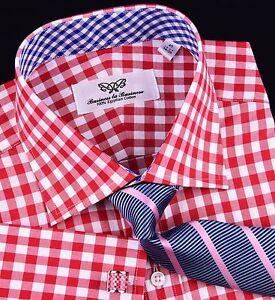 Hot Red Gingham Check Formal Business Dress Shirt Blue Plaids Luxury Cool Boss
