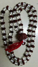 Sphatik Crystal Rudraksha Mala / Necklace 124+1 Beads