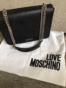 Love Moschino Black & Gold Chain Cross Body Bag