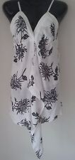 SIZE 10 / SIZE S WOMEN'S BLACK AND WHITE FLORAL SHOESTRING 'SKYE COLLECTION' TOP