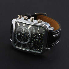 RUSSIAN PILOT DIAL MEN 3 TIME ZONE SPORT WATCH ANALOG BLACK LEATHER 1FBED