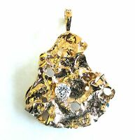 New Pendant Gold Plated Nugget Charm Cubic Zirconia For Necklace Free Shipping