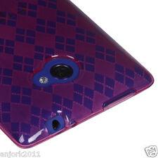HTC Windows Phone 8X SOFT COVER CANDY SKIN GEL CASE ACCESSORY HOT PINK CHECKER