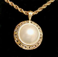 14KT YG 12MM CULTURED MABE PEARL GREEK KEY PENDANT