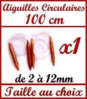 1 PAIRE D' AIGUILLE CIRCULAIRE A TRICOTER 100cm EN BAMBOU VÉRITABLE TRICOT LAINE