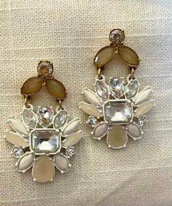 Ann Taylor Earrings, Dangle Rhinestone Flowers on New Card. -  Orig. $39.50