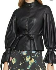 BCBG Max Azria Womens Faux Leather Jacket Black Pleated Coat XXS RPY4K332 Large