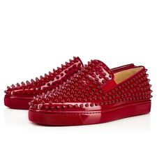 100% AUTH NEW MEN CHRISTIAN LOUBOUTIN RED ROLLER BOAT SPIKE SHOES EU 43/US 9
