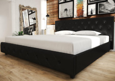 DHP 4175049 Dakota Upholstered Bed - King Size, Black Faux Leather