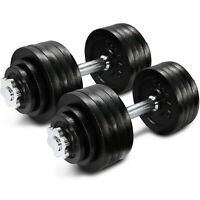 Yes4All Cast Iron Adjustable Dumbbells Set 105 lbs Chrome Handle Weights Workout
