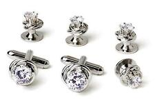 New Real Silver Plated Cubic Zirconia Cufflinks studs Retail 99.95 Boxed TUXXMAN