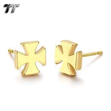 TT Gold Tone Stainless Steel Iron Cross Stud Earrings (EC84) NEW