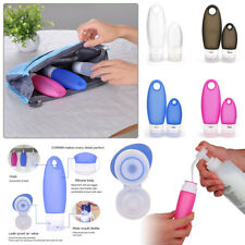 AU 4x Silicone Travel Bottles Toiletry Containers Set Leak Proof - Color Random