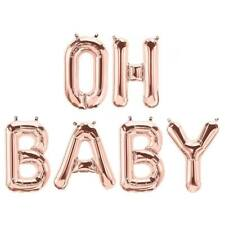 Rose Gold Baby Shower Balloons Oh Baby! Letters Party Supplies Quality USA made