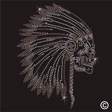 El jefe indio rojo Rhinestone Diamante transferencia hierro en la revisión de Gema De Cristal Adorno