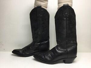 VTG WOMENS TONY LAMA COWBOY BLACK BOOTS SIZE 7.5 B