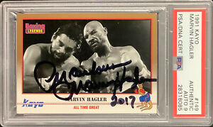 Marvelous Marvin Hagler Signed 1991 Kayo #149 Card Boxing FOY HOF PSA/DNA Auto 9