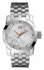 Marc Ecko Men's Etched White Crystal Silver Textured Dial Stainless E11506G1