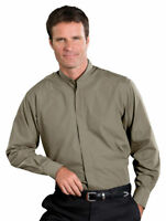 Edwards Garment Men's Banded Collar Long Sleeve Soft Dress Shirt. 1396
