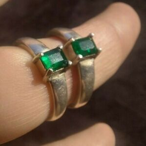 2 PCS Men's Ring 925 Sterling Silver Turkish Handmade Jewelry Emerald All Sizes